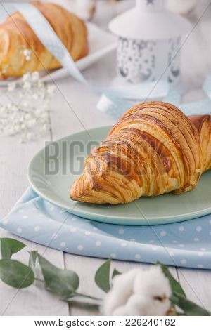 Delicious Continental Breakfast With Fresh Flaky French Croissants, Close Up On The Croissants. With