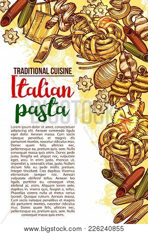 Italian Pasta Traditional Cuisine Restaurant Sketch Design Template For Menu. Vector Poster Of Italy