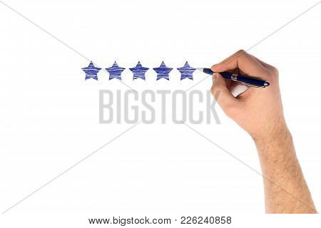 Hand Writing Five Star On White Background