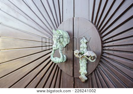 Old Wooden Door With A Copper Handle In The Form Of A Hors Head