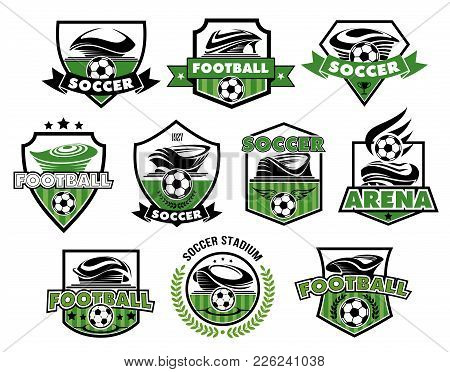 Soccer Club Or Football College League Team Icons Or Badges Templates. Vector Heraldic Shield Symbol