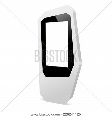 Multimedia Kiosk With Blank Screen Isolated On White Background - Half Side View. Advertising And In