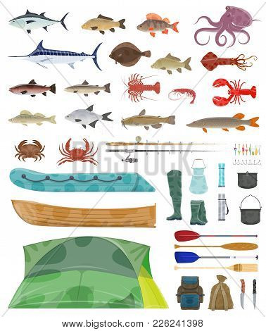 Fisherman Tools And Fishing Tackles Icons. Vector Isolated Equipment Set Of Fisher Boat, Tent And Fi