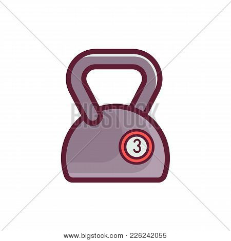 Vector Kettlebell Icon. Outline Gym Weight Isolated On White Background.