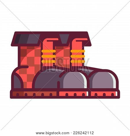 Red Lumberjack High Boots Pair. Vector Icon Isolated On White Background.