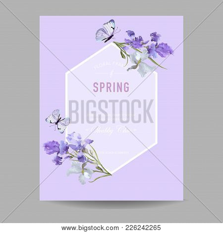 Floral Bloom Spring Frame With Purple Iris Flowers. Invitation, Poster, Greeting Card Flyer Template