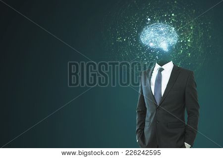 Brain Headed Businessman Standing On Dark Background With Copy Space. Brainstorm And Future Concept