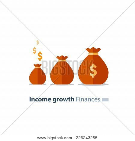Capital Evaluation, Future Income Growth, Ascending Money Bags, Return On Investment Increase, Break