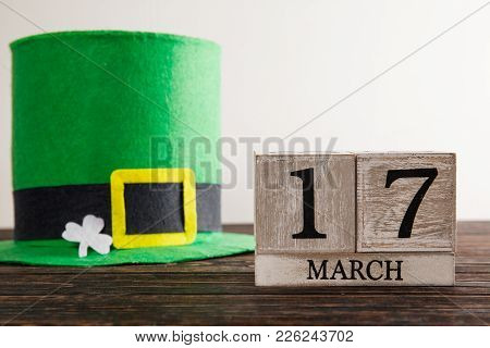 Save The Date White Block Calendar For St Patrick's Day,
