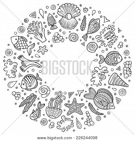 Line Art Vector Hand Drawn Set Of Sealife Cartoon Doodle Objects, Symbols And Items. Round Frame Com