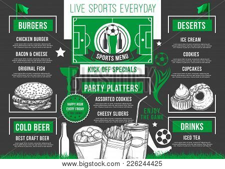 Soccer Sports Pub Or Bar Menu Design Template For Meal Snacks And Hamburgers. Vector Live Games Cham