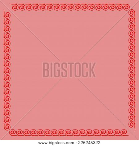 Frame Red. Colorful Framework Isolated On Pink Background. Decoration Concept. Modern Art Scoreboard