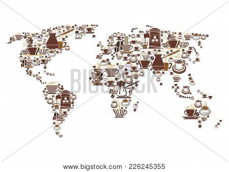 Coffee Cups And Coffee Maker World Map For Coffeehouse, Cafeteria Or Coffeeshop Cafe Design. Vector