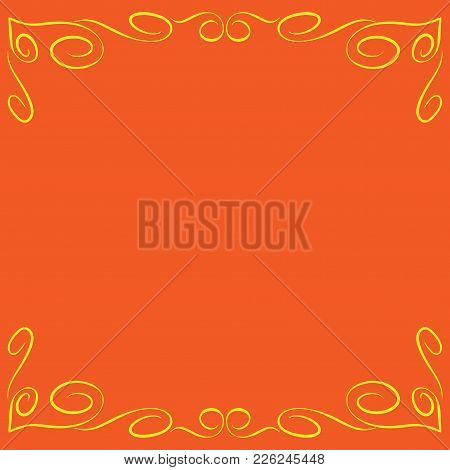 Frame Yellow. Decoration Banner Rim. Colorful Framework Isolated On Orange Background. Modern Art Sc