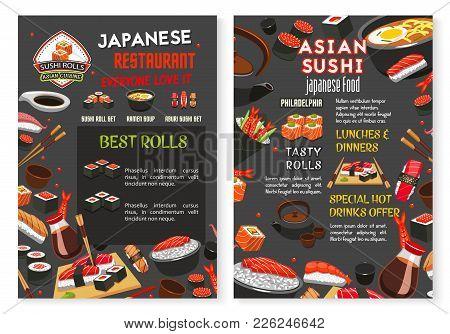 Sushi Bar Or Japanese Asian Cuisine Food Bar Menu Design Template. Vector Sashimi And Sushi Rolls Of