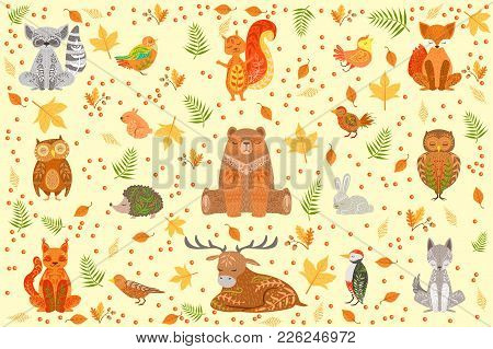 Forest Animals Covered In Ornamental Patterns Illustration. Hand Drawn Print In Bright Colors With A
