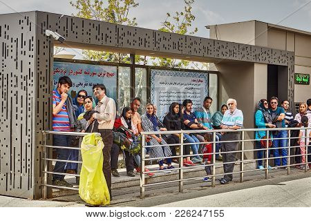 Tehran, Iran - April 28, 2017: Tehran Bus System Station, Many People Are Waiting For Public Transpo