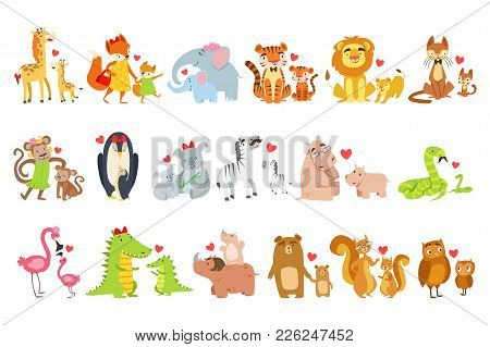 Small Animals And Their Moms Illustration Set. Colorful Childish Style Cartoon Animals In Parent Chi