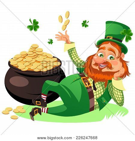 Saint Patrick Day Characters, Leprechaun With Red Beard Man In Cylinder Symbol Of Luck Shamrock, Car