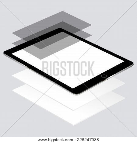 Tablet Computer Mockup With Blank Screen And Wireframing Pages - Perspective View.  Web-design Conce