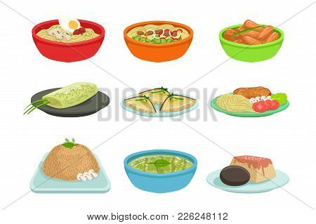Asian Food Famous Dishes Illustration Set. Traditional Cuisine Restaurant Menu Plates In Simplified