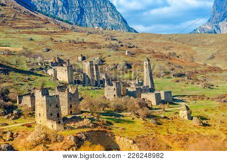 Beautiful Scenery Of Egikal Ancient Towers And Ruins In Ingushetia Jeyrah Ravine And Caucasus Mounta