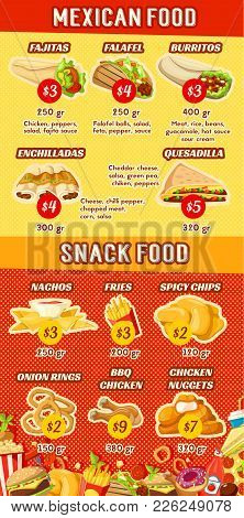 Mexican Fast Food Restaurant Cafe Menu Poster Design Template For Mexico Fastfood Bistro. Vector Faj