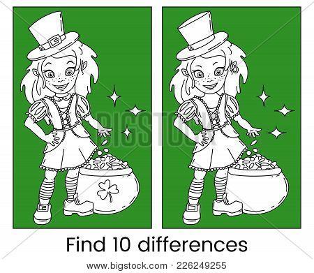 Cute Cartoon Irish Leprechaun Girl With The Pot Full Of Golden Coins. Find Ten Differences Visual Pu