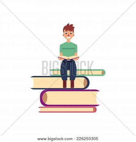 Vector Flat Adult Smiling Man In Casual Clothing Sitting At Pile Of Books Reading Textbook. Isolated