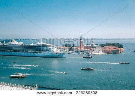 A Large Cruise Liner Enters The Port Of Venice On The Grand Canal, Venice, Italy