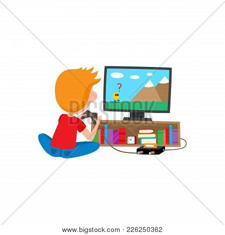 Boy Playing Game Console Using Tv And Joystick Sitting On The Floor, Cartoon Vector Illustration Iso