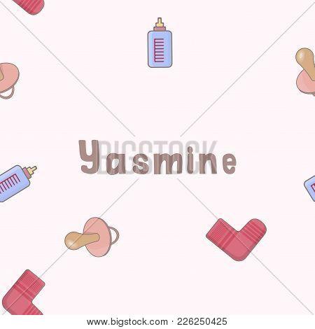 Seamless Background Pattern Name Yasmine Of The Newborn. Wallpaper Vector