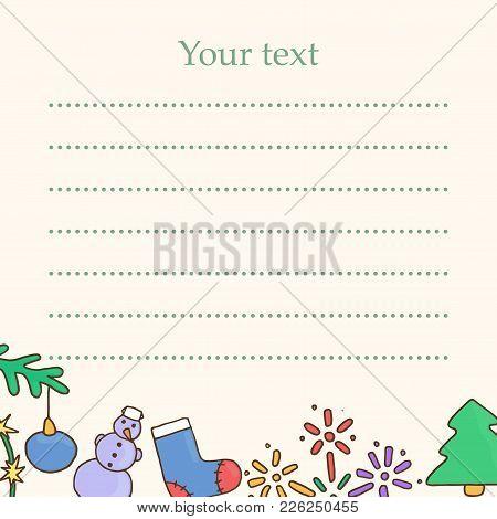 New Year Postcard. Christmas Greeting Card. Template For Xmas Vector Illustration. Fir-tree, Snowman