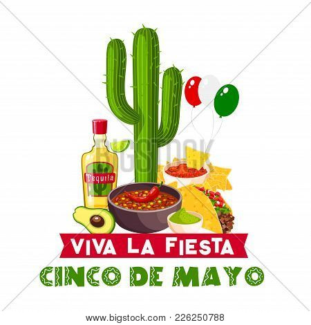 Cinco De Mayo Fiesta Party Icon With Mexican Holiday Food And Drink. Chili Pepper, Guacamole And Jal