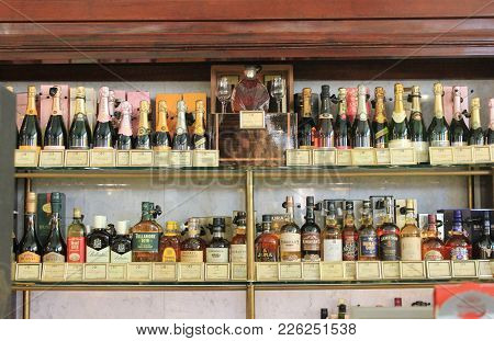 St. Petersburg, Russia - February 8, 2018: Alcohol Shelf With Various Bottles Of Whiskey, Rum, Vodka
