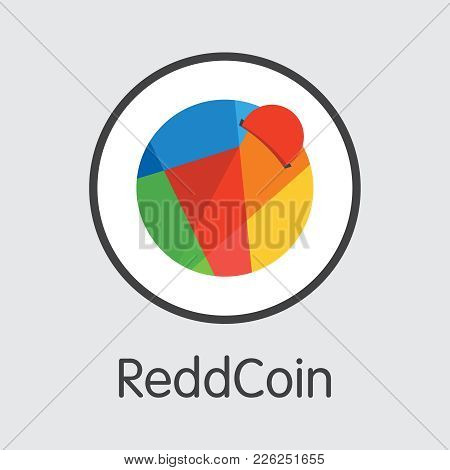 Reddcoin - Digital Currency Simbol. Vector Illustration Of Cryptocurrency Icon On Grey Background. V
