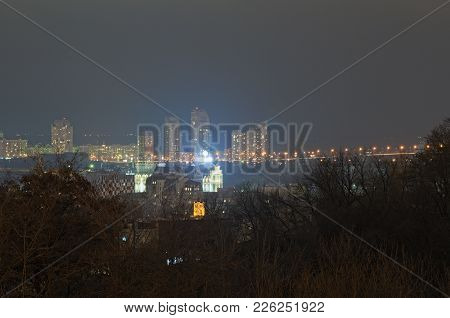 View Of The Podil District And Obolon District. Evening City Panorama. Winter Weekend Evening. Kyiv,