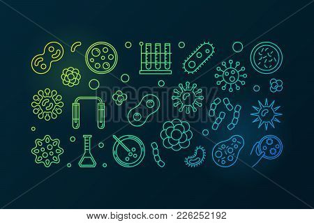 Pathogenicity Colorful Outline Illustration. Vector Horizontal Banner Made With Pathogen And Virus I