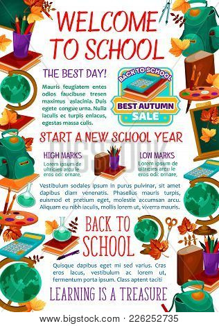 Welcome To School Poster Template Of Education Stationery And Lesson Supplies And Chalkboard. Vector