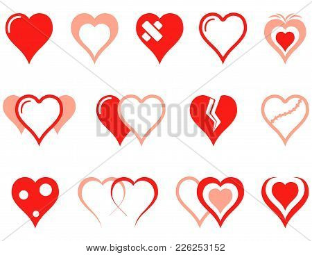 Heart Icons Set For Medical Industry Or Romantic Relations Of People Hearts Concept Symbols