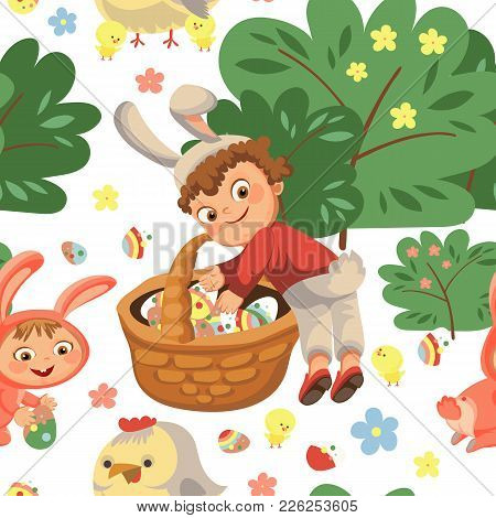 Seamless Pattern Boy Smile Hunting Decorative Chocolate Egg Under Brush In Easter Bunny Costume With