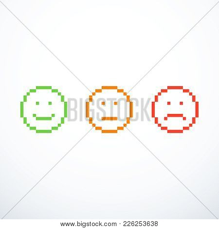 Set Of Pixel Emoticon Icons. Vector Illustration Eps 10