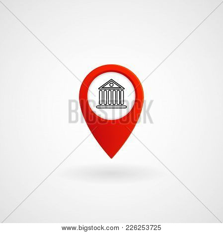 Red Location Icon For Bank, Vector, Illustration, Eps File