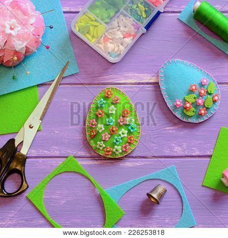 Felt Easter Egg Decor Crafts With Plastic Beads. Felt Egg Decor Crafts, Thimble, Box, Thread On The