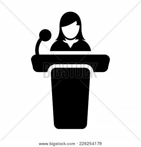 Public Speaking Icon Vector Female Person On Podium For Presentation And Seminar For People With Mic