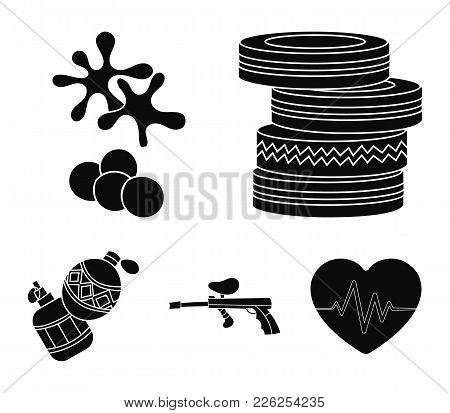 Competition, Contest, Equipment, Tires .paintball Set Collection Icons In Black Style Vector Symbol