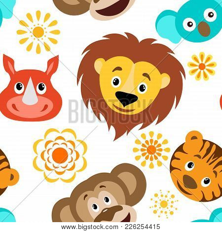Funny Cartoon Wild Animals Head Seamless Childish Pattern.lion, Rhino, Koala, Tiger And Cartoon Sun.