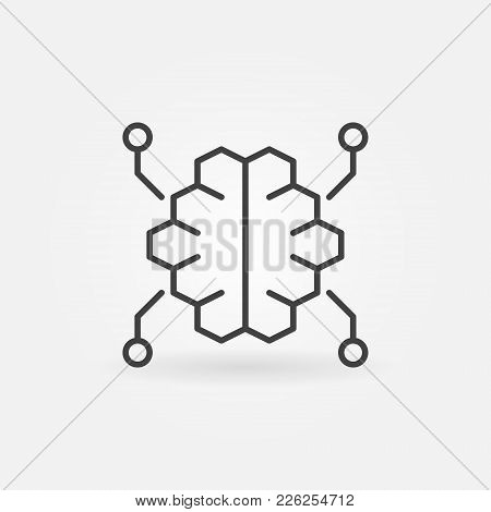 Digital Brain Vector Outline Icon Or Symbol In Thin Line Style