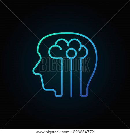 Human Head With Brain Blue Icon - Vector Artificial Intelligence Concept Linear Symbol On Dark Backg
