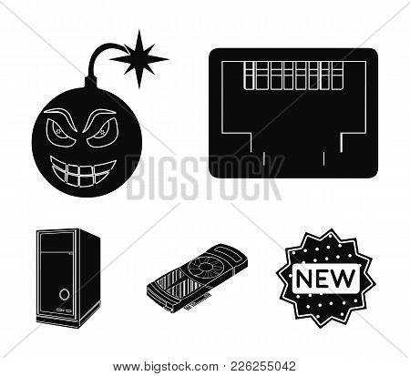 Virus, System Unit And Other Components. Personal Computer Set Collection Icons In Black Style Vecto